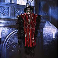 Halloween rekwisieten party bar ktv decoratie stem geactiveerd hangende schedel skelet spook met gloeiende rode ogen en geluidseffecten