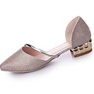 cheap Women's Heels-Women's Flats Comfort Summer PU Dress Split Joint Flat Heel Gold Silver Flat