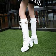 Femme Chaussures Polyuréthane Automne Hiver Confort Bottes Talon Bas Bout rond Pour Décontracté Blanc Noir