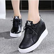 Damen Sneaker Komfort Frühling Sommer PU Normal Weiß Schwarz 5 - 7 cm