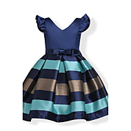 cheap -Kids / Toddler Girls' Bow / Sweet Party / Holiday Blue Solid Colored / Striped Short Sleeve Cotton Dress Pink 3-4 Years(110cm)
