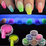 1g / üveg nail art glitter por DIY szépség csillogás 3d izzás köröm művészet fluoreszkáló világító neon por köröm fényes díszek yg1-12