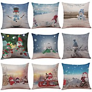 cheap Holiday Decorations-9 pcs Linen Pillow Case Pillow Cover, Textured Tropical Beach Style Traditional/Classic Modern/Contemporary