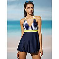 여성용 홀터 넥 옐로우 레드 나와 원-피스 수영복 - 줄무늬 프린트 L XL XXL 옐로우