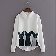 สำหรับผู้หญิง เชิร์ต คอเสื้อเชิ้ต สัตว์ ขาว M / ตก