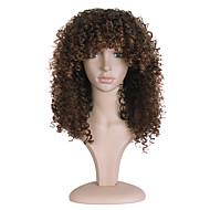 Synthetische Perücken Locken Braun Braun Synthetische Haare Damen Afro-amerikanische Perücke Braun Perücke Lang Kappenlos