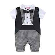 Baby Drenge En del Plæd / Tern Blomster / botanik Mode, 100 % bomuld Forår Sommer Kortærmet Ternet Hvid