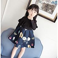 Menina de Vestido Estampado Primavera Outono Algodão Poliéster Manga Longa