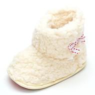 赤ちゃん フラット コンフォートシューズ ファッションブーツ フリース 秋 冬 結婚式 カジュアル ドレスシューズ パーティー リボン 面ファスナー フラットヒール ベージュ フラット
