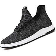 Men's Sneakers Comfort Spring Fall Knit Walking Shoes Casual Outdoor Lace-up Flat Heel Black Beige Gray Flat