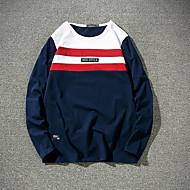 Langærmet Rund hals Herrer Ensfarvet Farveblok Simpel I-byen-tøj Afslappet/Hverdag Plusstørrelser T-shirt,Bomuld Andet