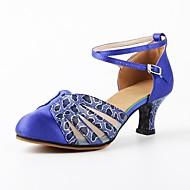 billige Moderne sko-Dame Moderne Tekstil Høye hæler Trening Satengblomst Sløyfe Sided Hollow Out Kubansk hæl Blå Kan spesialtilpasses