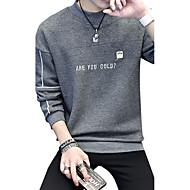 Herrer Afslappet/Hverdag Plusstørrelser Simple Sweatshirt Bogstaver Rund hals Bomuld Spandex Mikroelastisk Langærmet Efterår Vinter