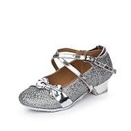 billige Moderne sko-Dame Barns Dansesko Glimtende Glitter Paljett Syntetisk Flate Innendørs Paljett Spenne Bølgemønster Drapert Lav hæl Gull Sølv Rosa Under