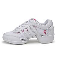 Dames Danssneaker Echt Leer Tule Sneaker Buitenshuis Dubbelzijdige Hollow uit Plat Roze en Wit 3,5cm Aanpasbaar