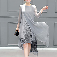cheap -Women's Plus Size Going out Asymmetrical Sheath Dress - Graphic Layered Summer Gray XXXL 4XL XXXXXL