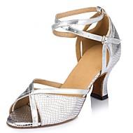 baratos Sapatilhas de Dança-Mulheres Sapatos de Dança Latina Couro Sintético Sandália Cruzado Salto Cubano Personalizável Sapatos de Dança Dourado / Prata / Azul