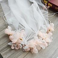 cheap Wedding Veils-One-tier Cut Edge Wedding Veil Elbow Veils Chapel Veils 53 Satin Flower Ribbon Tie Ruffles Chiffon Lace Tulle