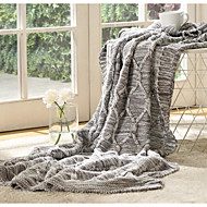 cheap Blankets & Throws-Knitted, Printed Solid Colored Cotton/Polyester Blankets