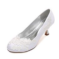 billige Bryllupssko-Dame Sko Sateng Vår / Sommer Komfort / Basispumps bryllup sko Liten hæl / Lav hæl / Stiletthæl Rund Tå Satengblomst / Blomst Blå /