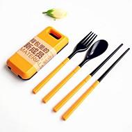 2個/セットabsプラスチック製食器セットフォークスプーン箸