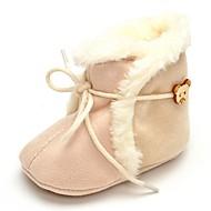赤ちゃん フラット コンフォートシューズ ファッションブーツ 繊維 秋 冬 結婚式 カジュアル ドレスシューズ パーティー 編み上げ フラットヒール ベージュ フラット