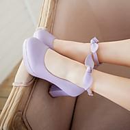 Feminino Sapatos Couro Ecológico Primavera Verão Conforto Saltos Salto Grosso Ponta Redonda Para Casual Branco Roxo Claro