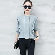 Rund hals Dame - Ensfarvet Bluse Rayon Polyester