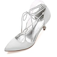cheap Women's Shoes-Women's Wedding Shoes Basic Pump Ankle Strap Comfort D'Orsay & Two-Piece Spring Summer Satin Wedding Party & Evening Dress Rhinestone