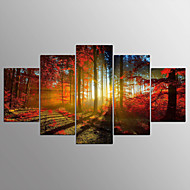 cheap Wall Art-Stretched Canvas Print Abstract, Five Panels Canvas Horizontal Print Wall Decor Home Decoration