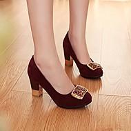 Feminino Sapatos Couro Ecológico Outono Inverno Conforto Saltos Salto Grosso Ponta Redonda Para Casual Fúcsia Azul Vinho