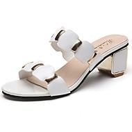 Feminino Sandálias Solados com Luzes Primavera Couro Ecológico Casual Salto de bloco Branco Preto 5 a 7 cm