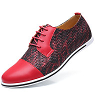 Men's Oxfords Novelty Spring Summer Fall Winter Microfibre Casual Outdoor Office & Career Split Joint Flat Heel Blue Ruby Yellow Black