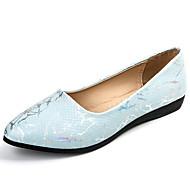 Naiset Tasapohjakengät Comfort PU Kesä Kausaliteetti Kävely Tasapohja Valkoinen Sininen Pinkki 2-2,75in