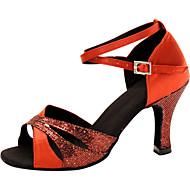 baratos Sapatilhas de Dança-Mulheres Sapatos de Dança Latina Seda Sandália Cruzado Salto Agulha Personalizável Sapatos de Dança Vermelho / Espetáculo / Couro