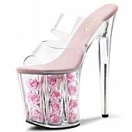 halpa -Naiset Sandaalit Tossut & Slip-Flops PVC Kesä Juhlat Kristalleilla Kukkakuvio Piikkikorko Valkoinen Fuksia Punainen Pinkki 5in tai enemmän
