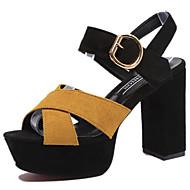 Mulheres Sapatos Couro Ecológico Primavera / Verão Conforto / Gladiador / Plataforma Básica Sandálias Salto Robusto Peep Toe Presilha