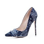 baratos -Feminino Sapatos Jeans Primavera Verão Plataforma Básica Saltos Salto Agulha Dedo Apontado Fru-Fru Para Social Festas & Noite Preto Azul