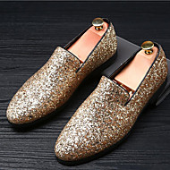 cheap Men's Slip-ons & Loafers-Men's Moccasin Glitter Summer / Fall British Loafers & Slip-Ons Gold / Black / Silver / Sparkling Glitter / Wedding / Party & Evening / Wedding / Party & Evening