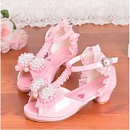 tanie Obuwie dziewczęce-Dla dziewczynek Buty PU Lato Comfort Sandały na Casual White Różowy