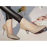 Feminino Sapatos Pele Real Couro Ecológico Outono Inverno Plataforma Básica Conforto Saltos Para Casual Dourado Prata