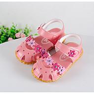 女の子 サンダル コンフォートシューズ 赤ちゃん用靴 レザーレット 夏 カジュアル ウォーキング 面ファスナー ローヒール ホワイト ピーチ ピンク フラット