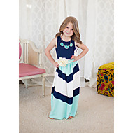 فستان بدون كم مخطط خطوط للفتيات طفل صغير / قطن