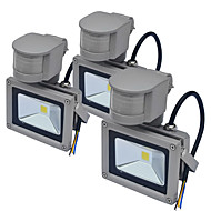 Jiawen 3pcs Waterproof 10W 1000LM Cool Whte or Warm White PIR Motion Sensor LED Flood Light Induction Lamp (AC85-265V)