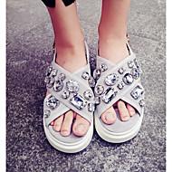 baratos Sapatos Femininos-Mulheres Couro Ecológico Verão Conforto Sandálias Cinzento / Verde Tropa