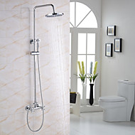 Modern/Contemporary Shower System Rain Shower Widespread Handshower Included Two Holes Chrome , Shower Faucet