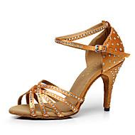 Χαμηλού Κόστους Παπούτσια χορού-Γυναικεία Μετάξι Πέδιλα / Τακούνια Αγκράφα Εξατομικευμένο Παπούτσια Χορού Μαύρο / Καφέ / Εσωτερικό