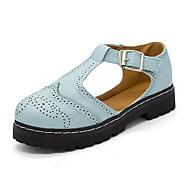 Kadın Oxford Modeli Rahat Sonbahar PU Elbise Alçak Topuk Beyaz Mavi 2inç-2 3/4inç