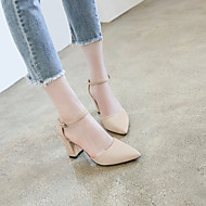 baratos Sapatos Femininos-Mulheres Sapatos Tecido Verão / Outono Tira no Tornozelo Saltos Salto Robusto Dedo Apontado Presilha Preto / Cinzento / Khaki / Social