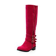Damer Sko Nubuck Læder Vinter Modestøvler Støvler Flade hæle Knæhøje støvler Til Afslappet Sort Gul Rød
